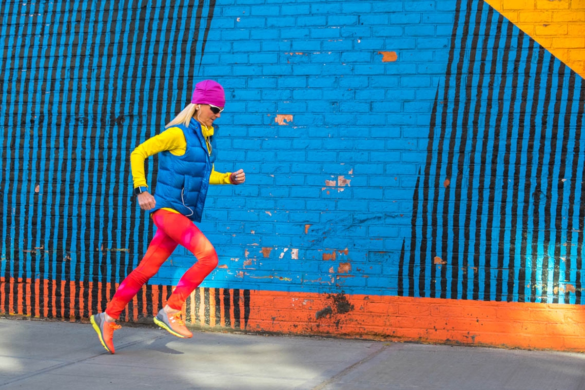 Running at the Rainbow Wall in DUMBO